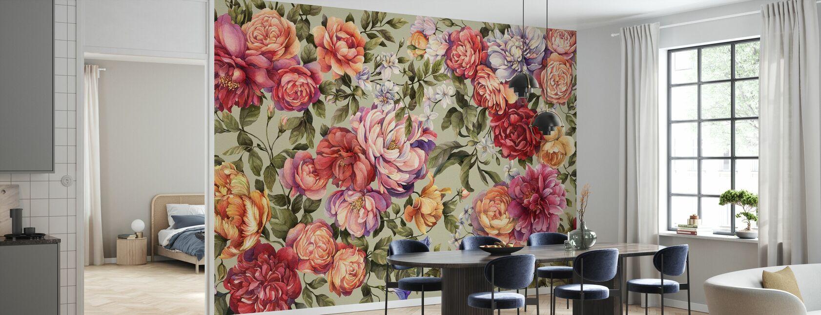 Floralia - Sage - Wallpaper - Kitchen