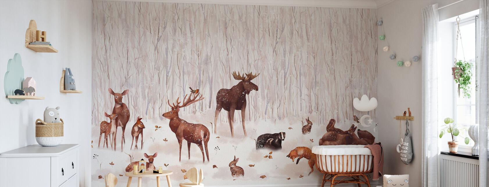 Amis de la forêt d'hiver - Papier peint - Chambre de bébé