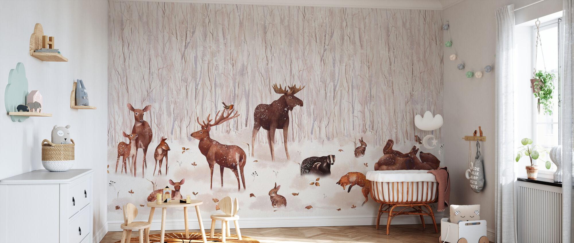 Winter Forest Friends - Wallpaper - Nursery