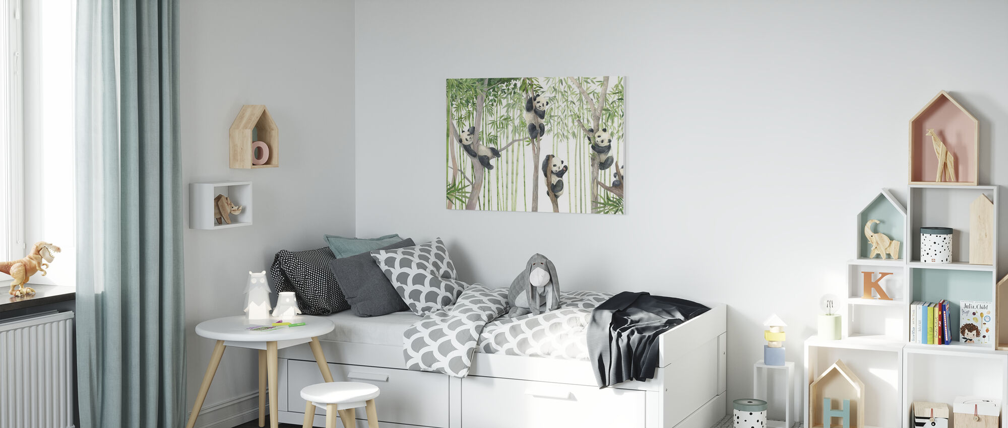 Panda Friends - Bright - Canvas print - Kinderkamer