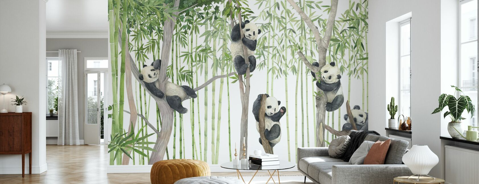 Panda Friends - Bright - Wallpaper - Living Room
