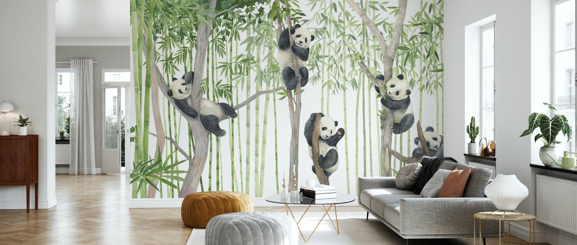 Panda Vänner - Ljus - Tapet - Vardagsrum