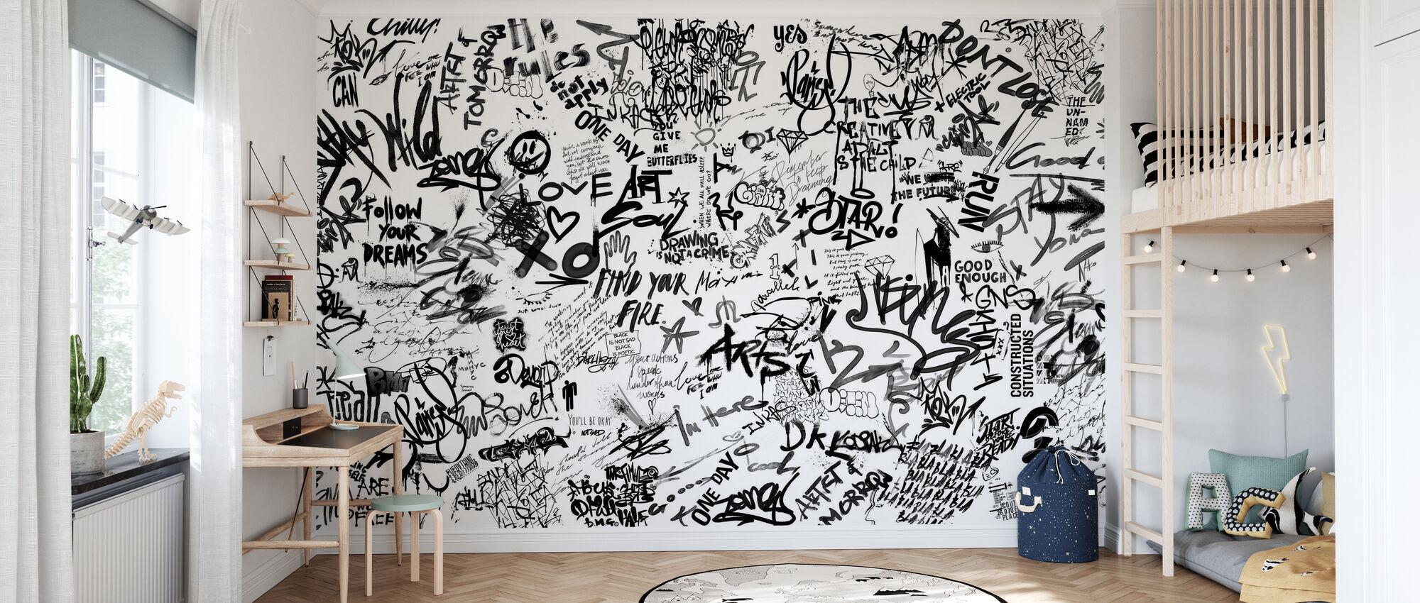 Street Art Poetry - Bw - Wallpaper - Kids Room