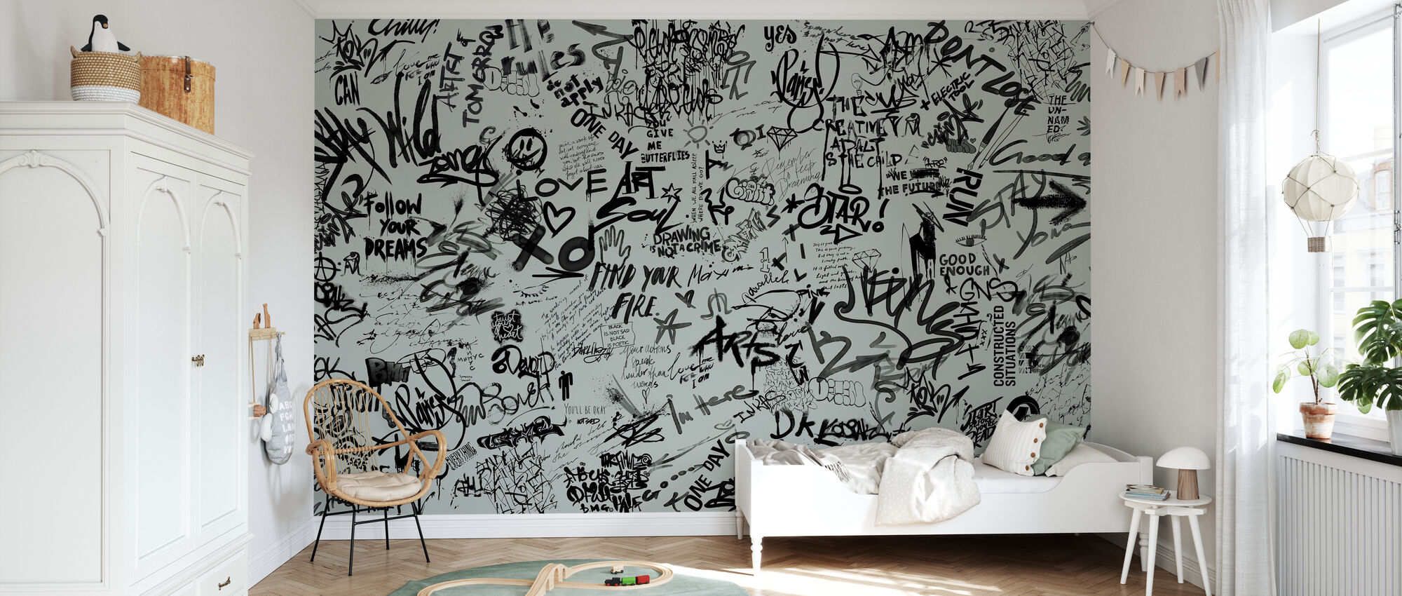 Street Art Poetry - Green - Wallpaper - Kids Room