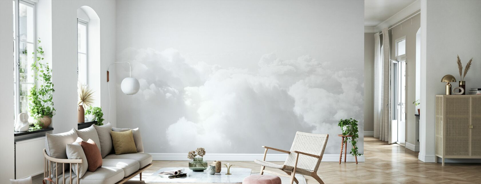 Black and White Clouds - Wallpaper - Living Room