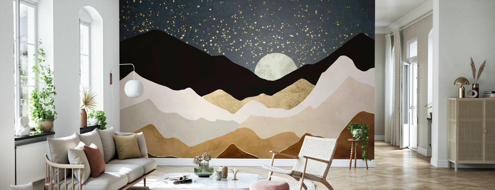 Goldene Sterne - Tapete - Wohnzimmer