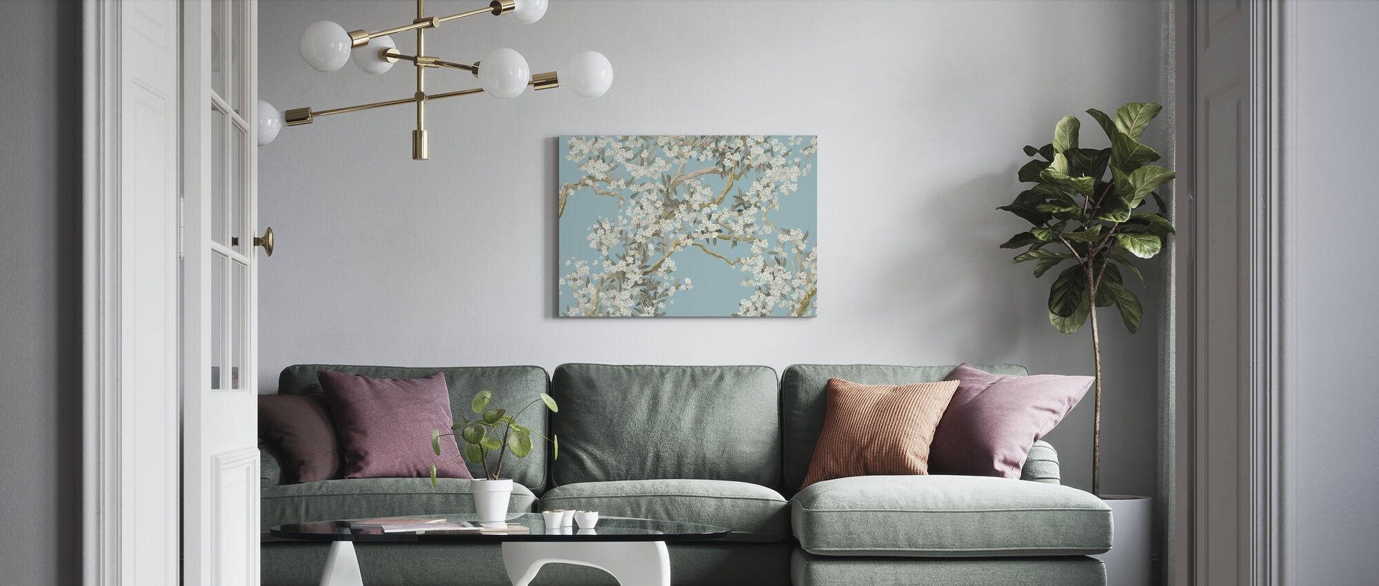 Full Bloom - Blue - Canvas print - Living Room