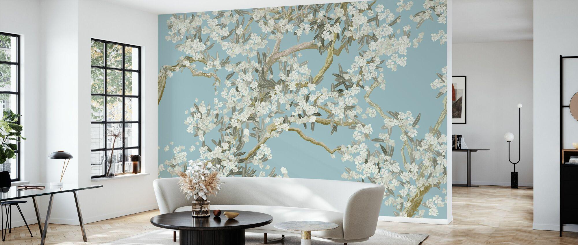 Full Bloom - Blue - Wallpaper - Living Room