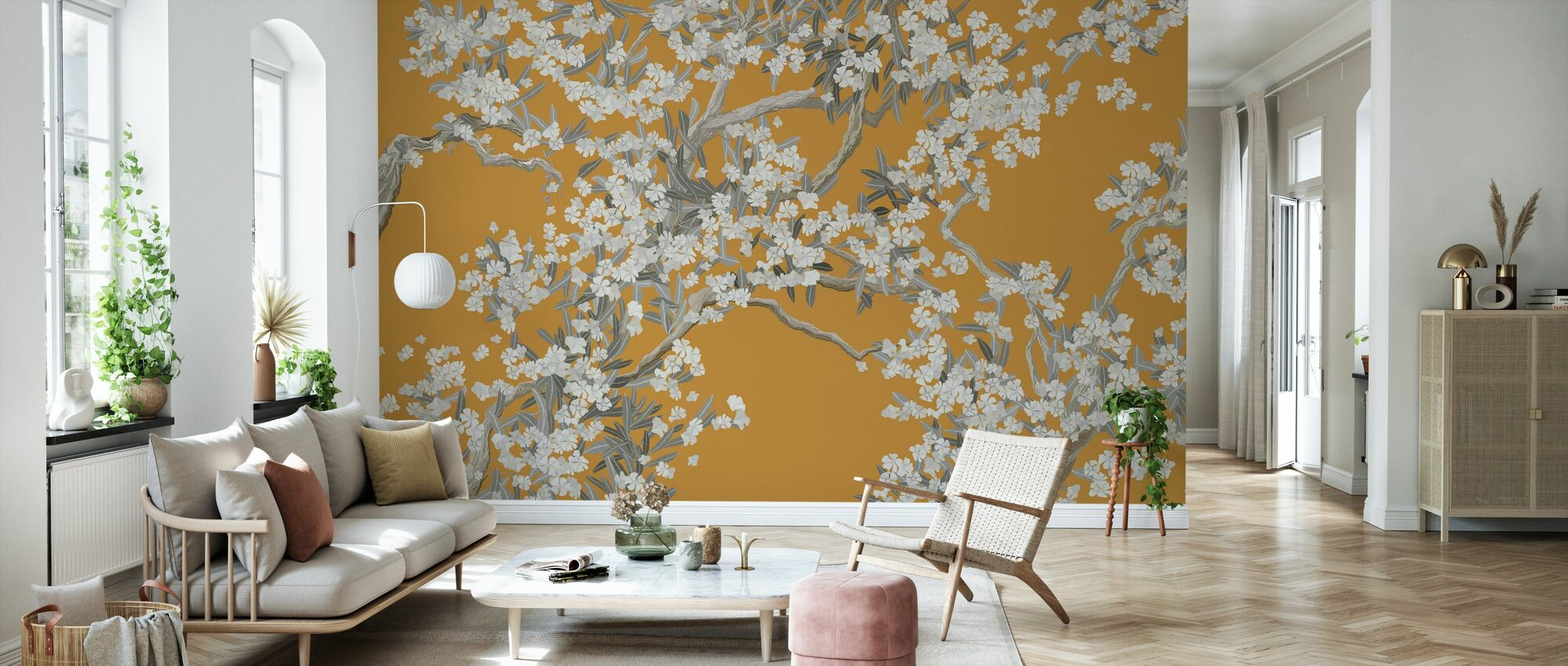 Full Bloom - Orange - Wallpaper - Living Room