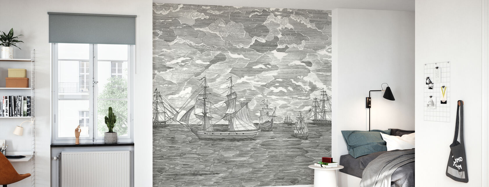 Sail Away - Musta tähti - Tapetti - Lastenhuone