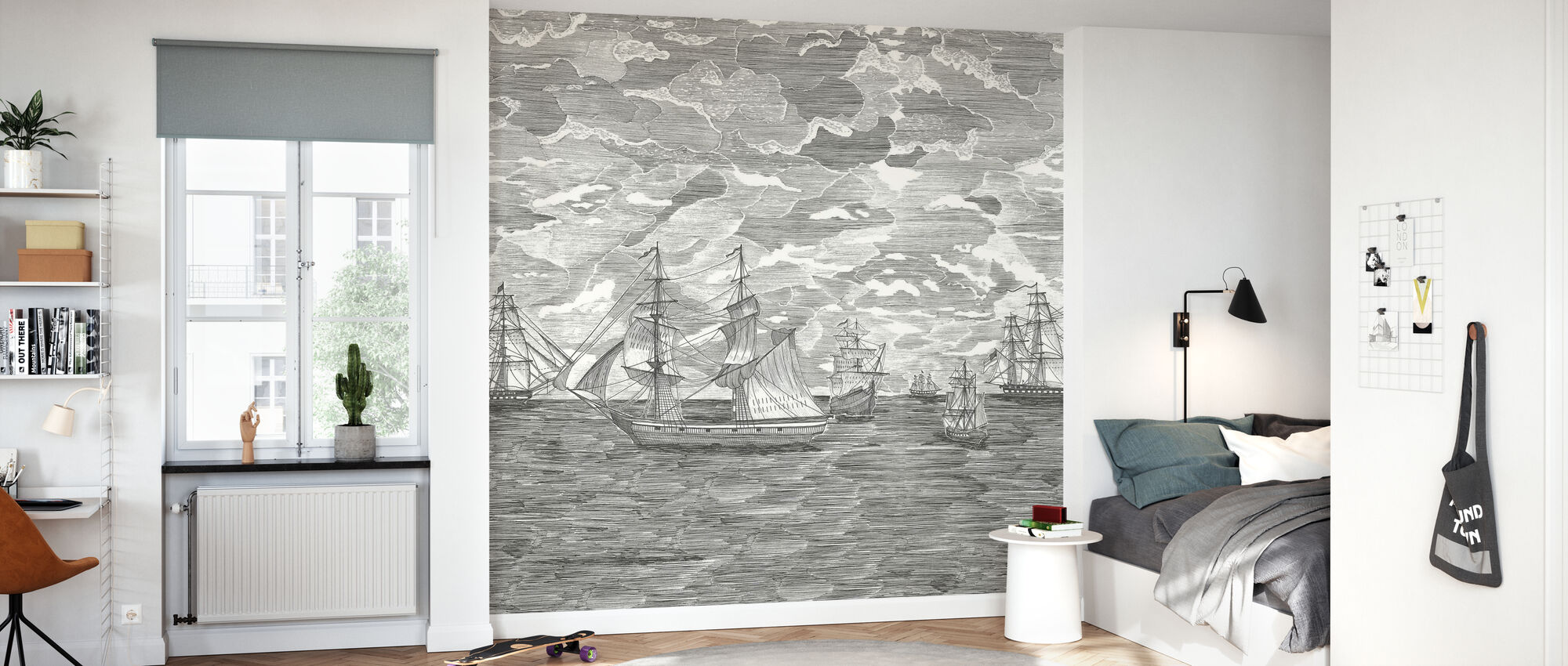 Sail Away - Black - Wallpaper - Kids Room