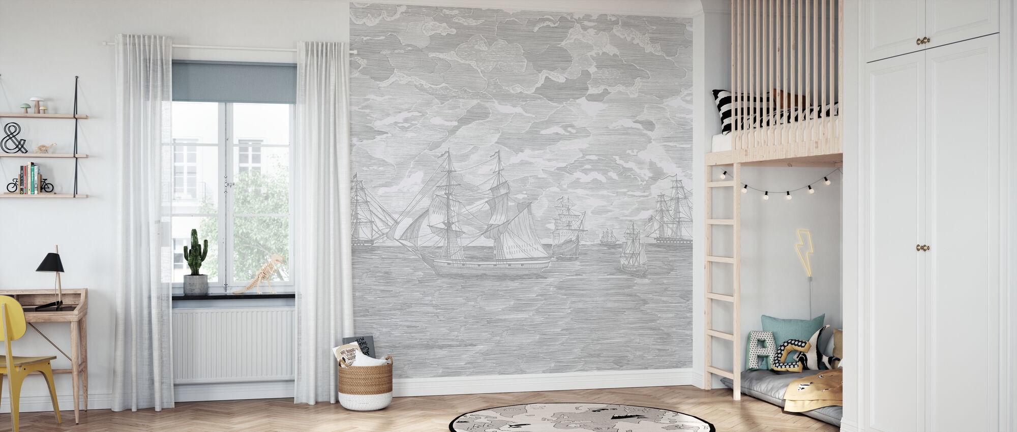 Sail Away - Grey - Wallpaper - Kids Room