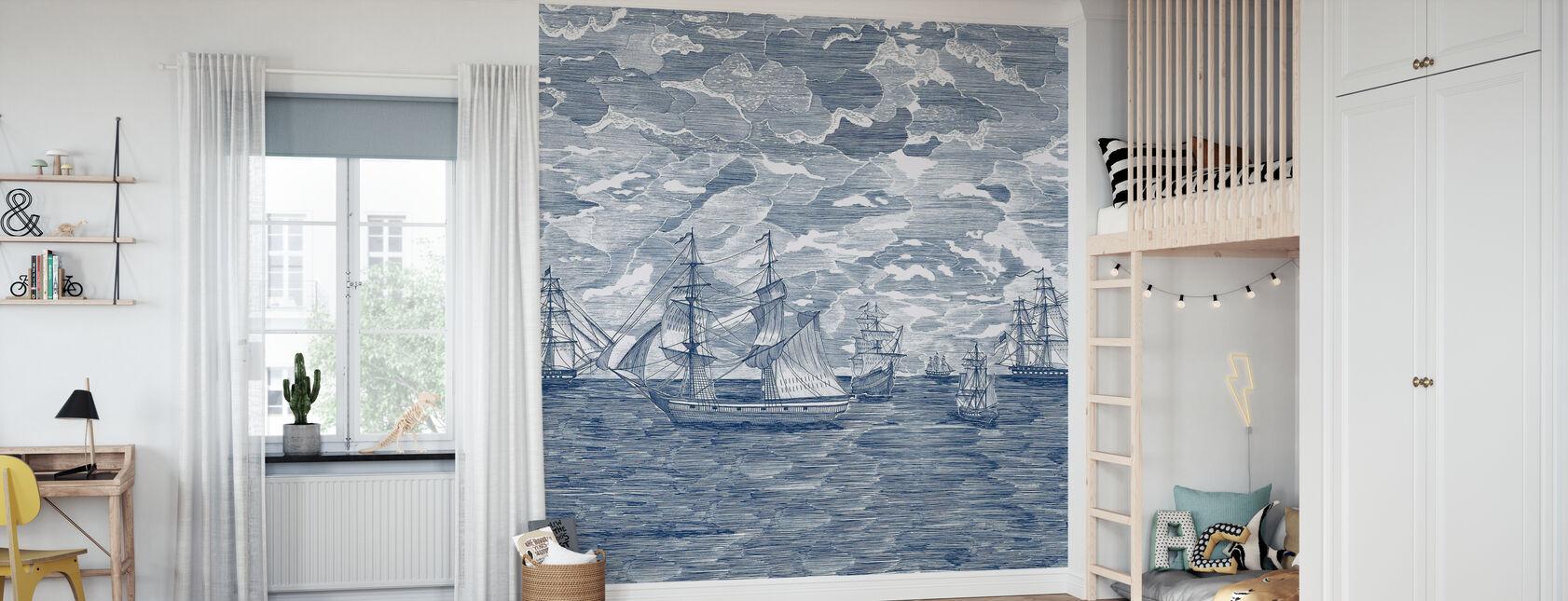 Odpłynąć - Navy - Tapeta - Pokój dziecięcy