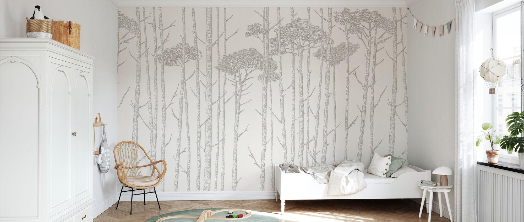 Tree Tops - Grey - Wallpaper - Kids Room