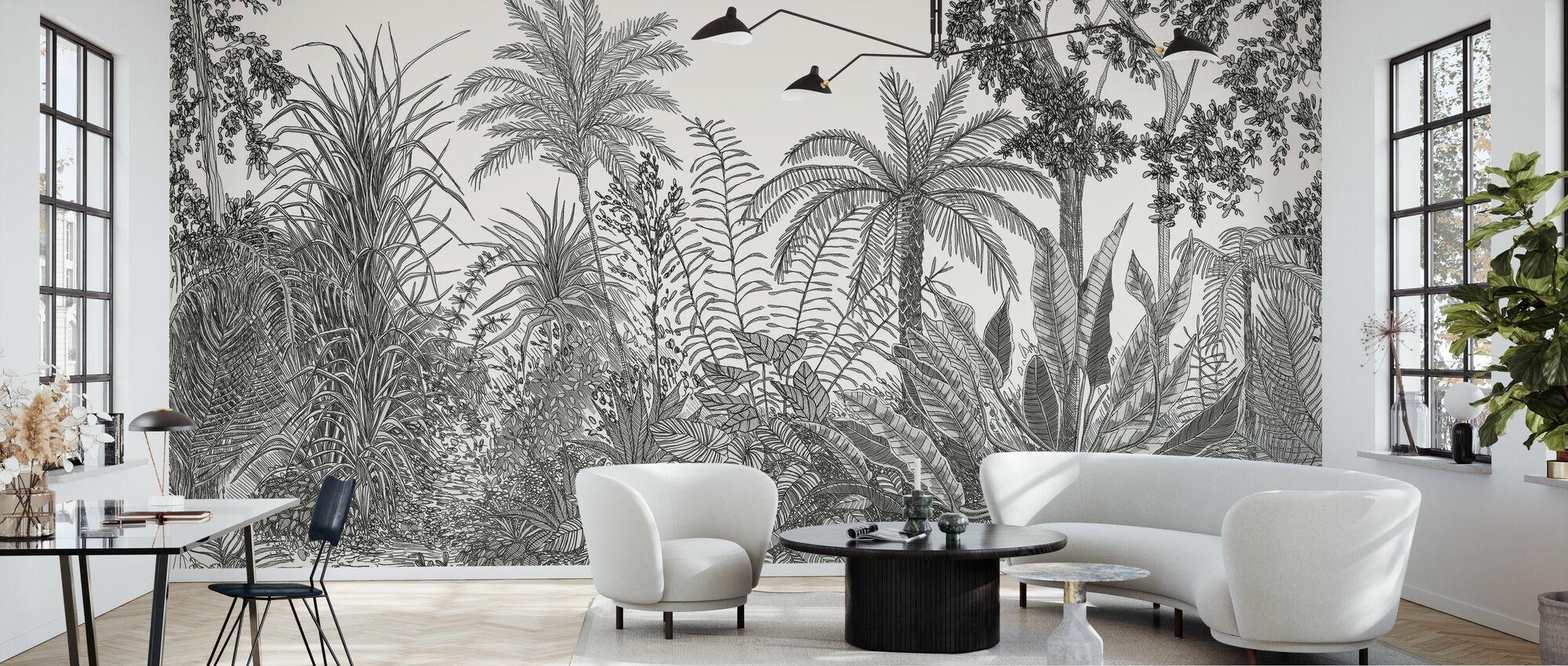 Tropica - Negro - Papel pintado - Salón