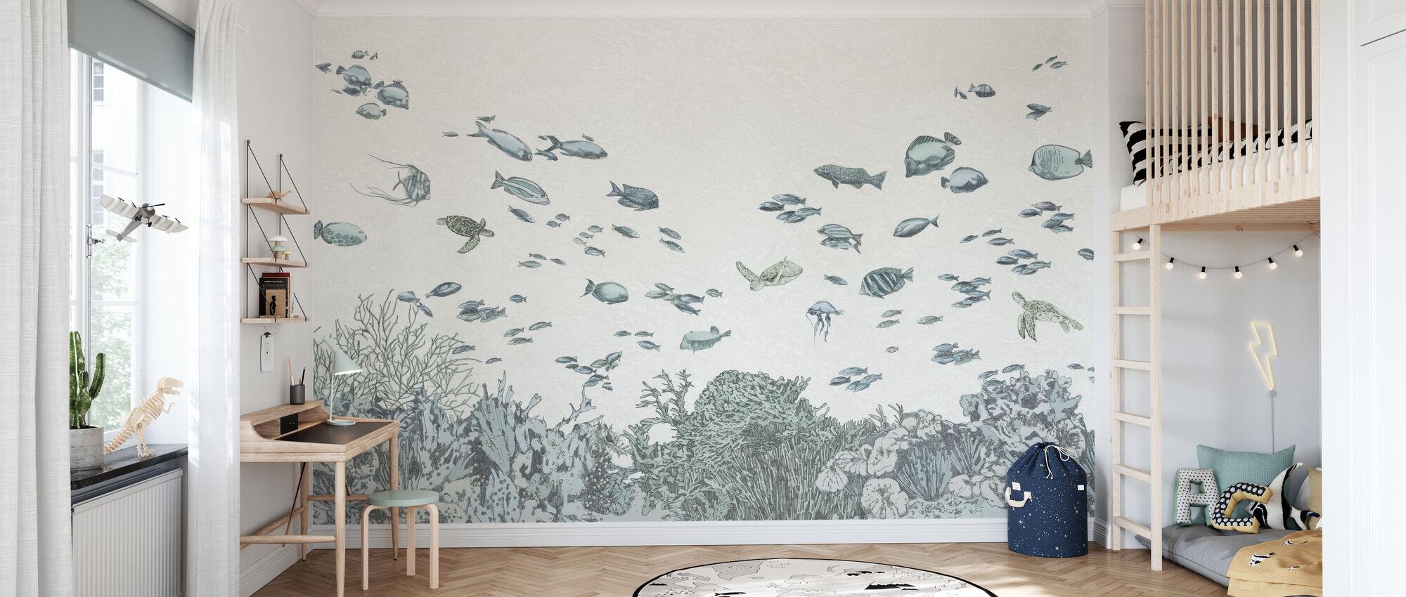 Meren alla - Sininen - Tapetti - Lastenhuone