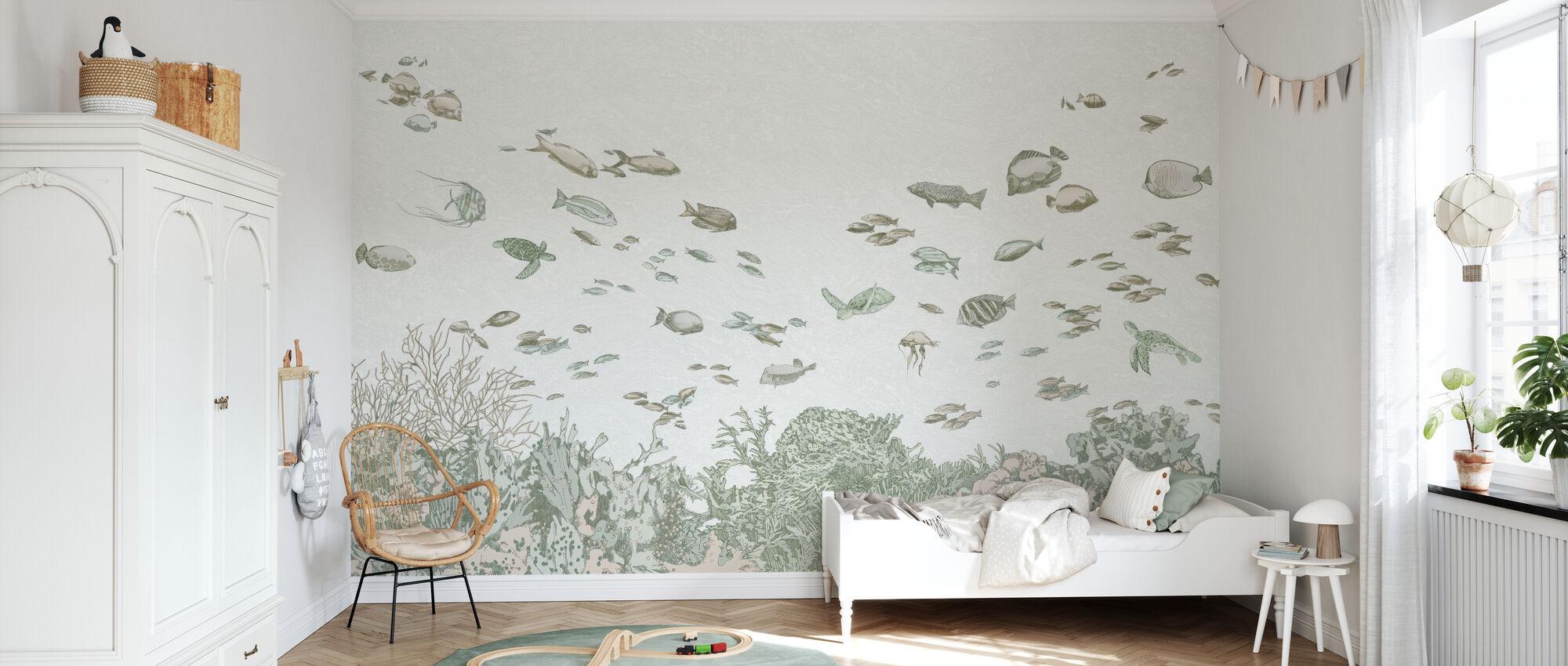 Meren alla - Vihreä - Tapetti - Lastenhuone