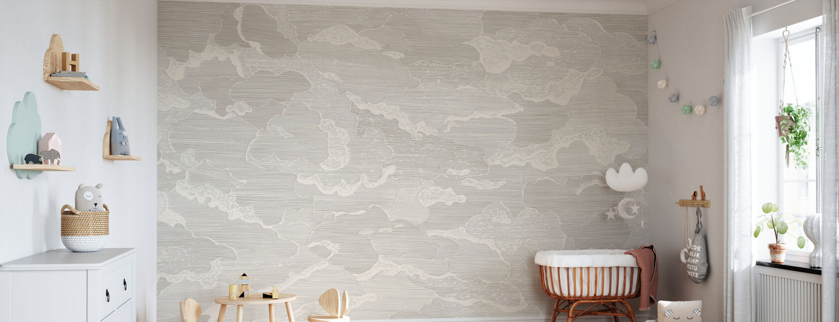Up and Away - Greige - Wallpaper - Nursery