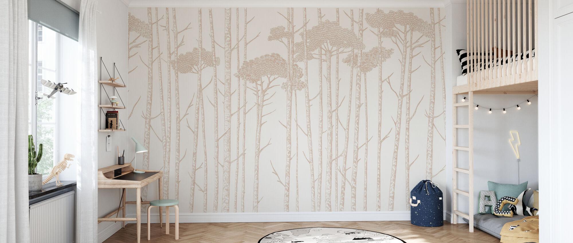 Tree Tops - Blush - Wallpaper - Kids Room