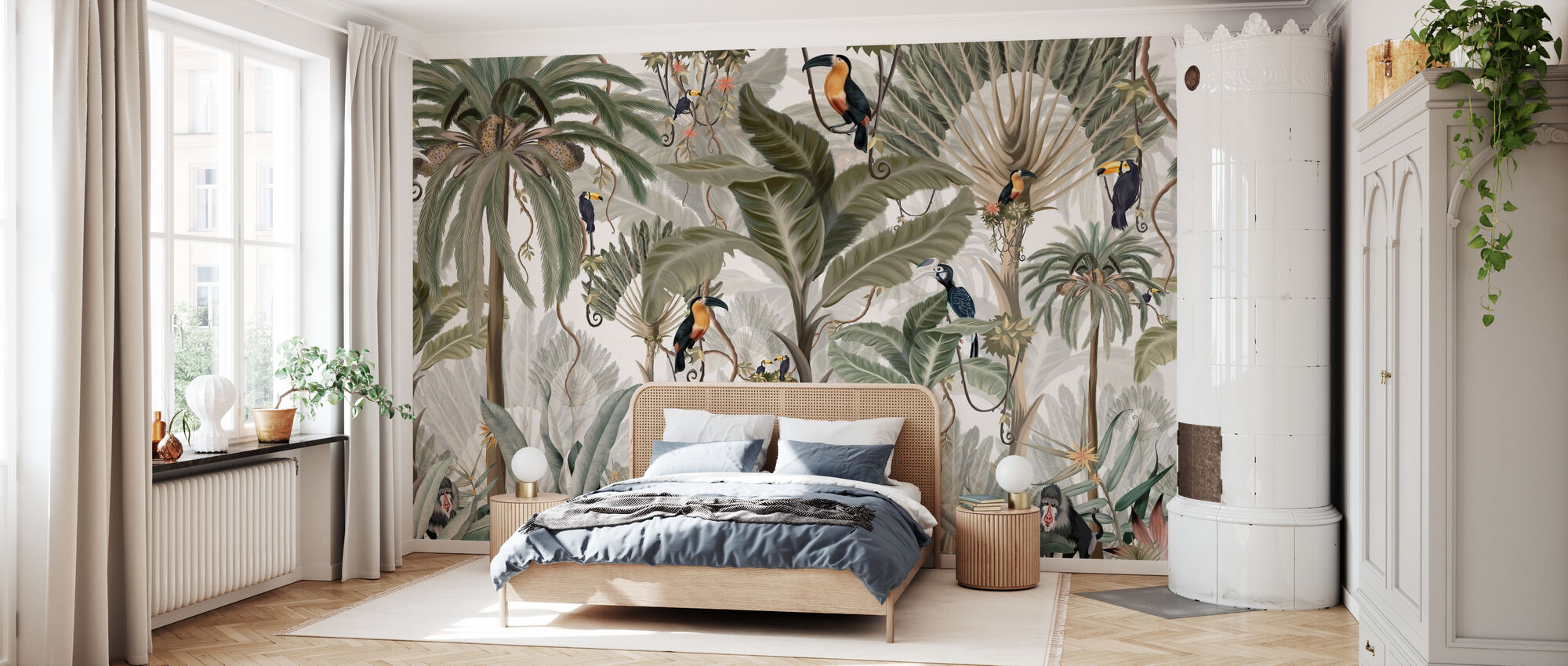 Exotischer Dschungel - hell - Tapete - Schlafzimmer