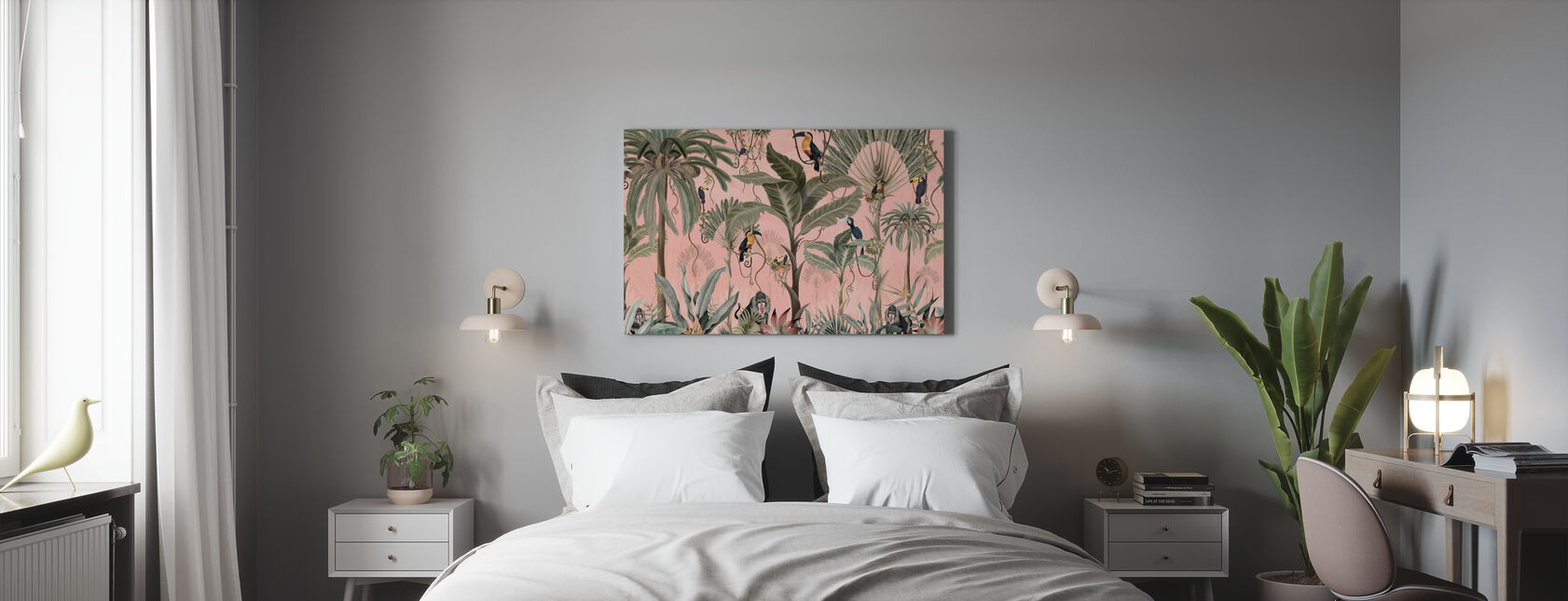 Exotic Jungle - Pink - Canvas print - Bedroom
