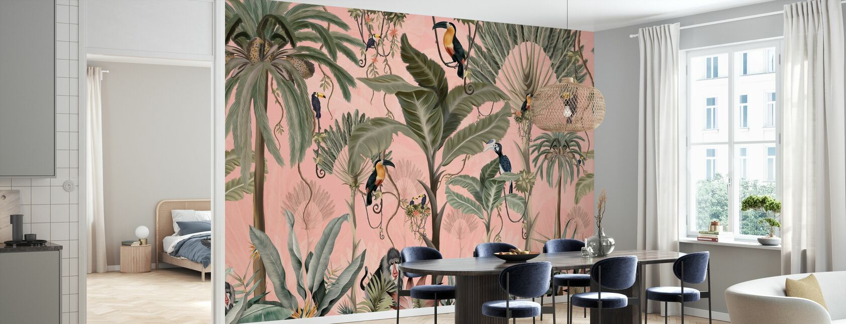 Exotic Jungle - Pink - Wallpaper - Kitchen