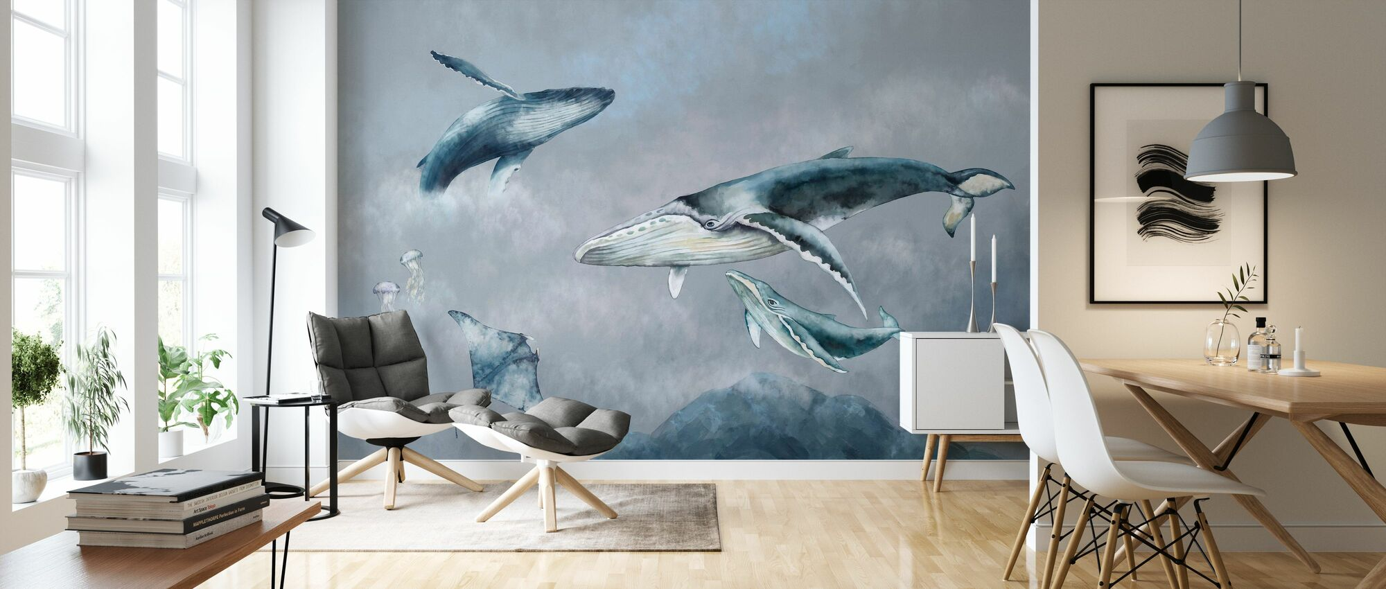 Whale Friends - Wallpaper - Living Room