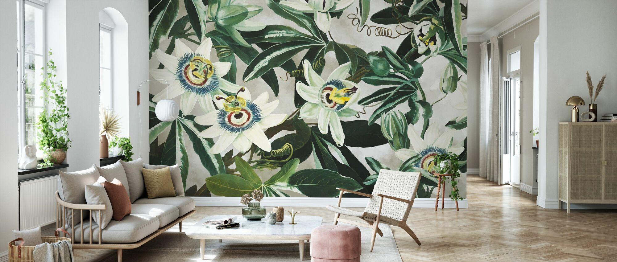 White Passiflora - Wallpaper - Living Room