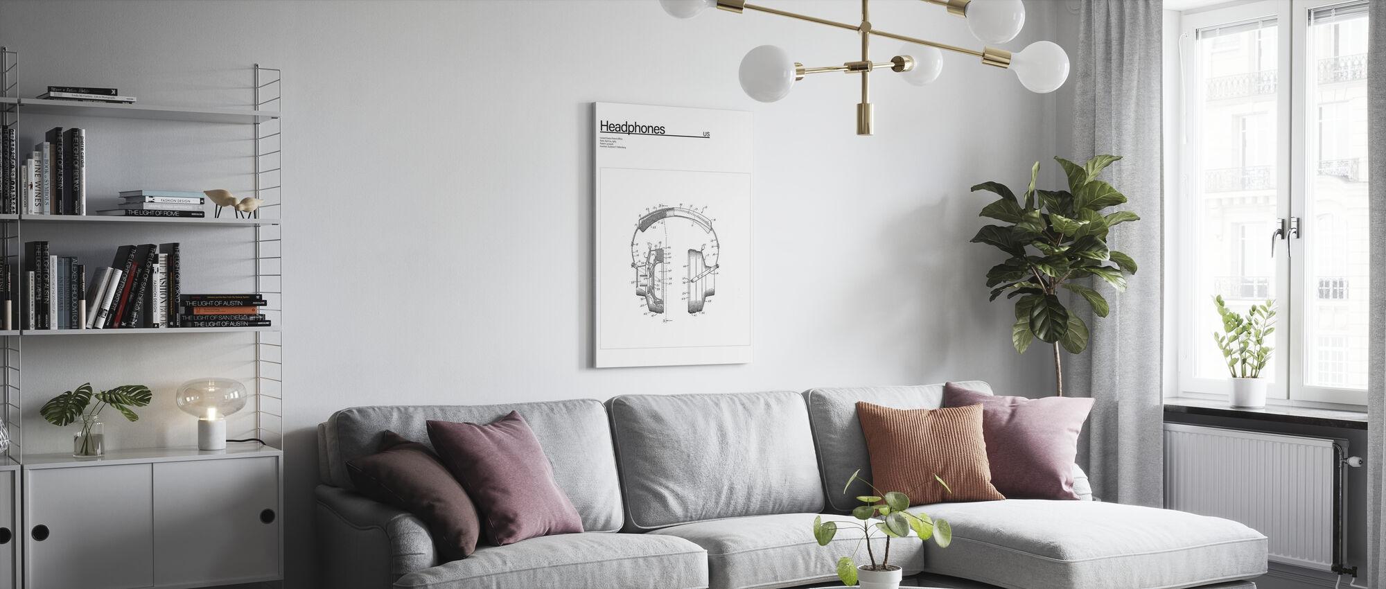 Patent Headpones - Canvas print - Woonkamer