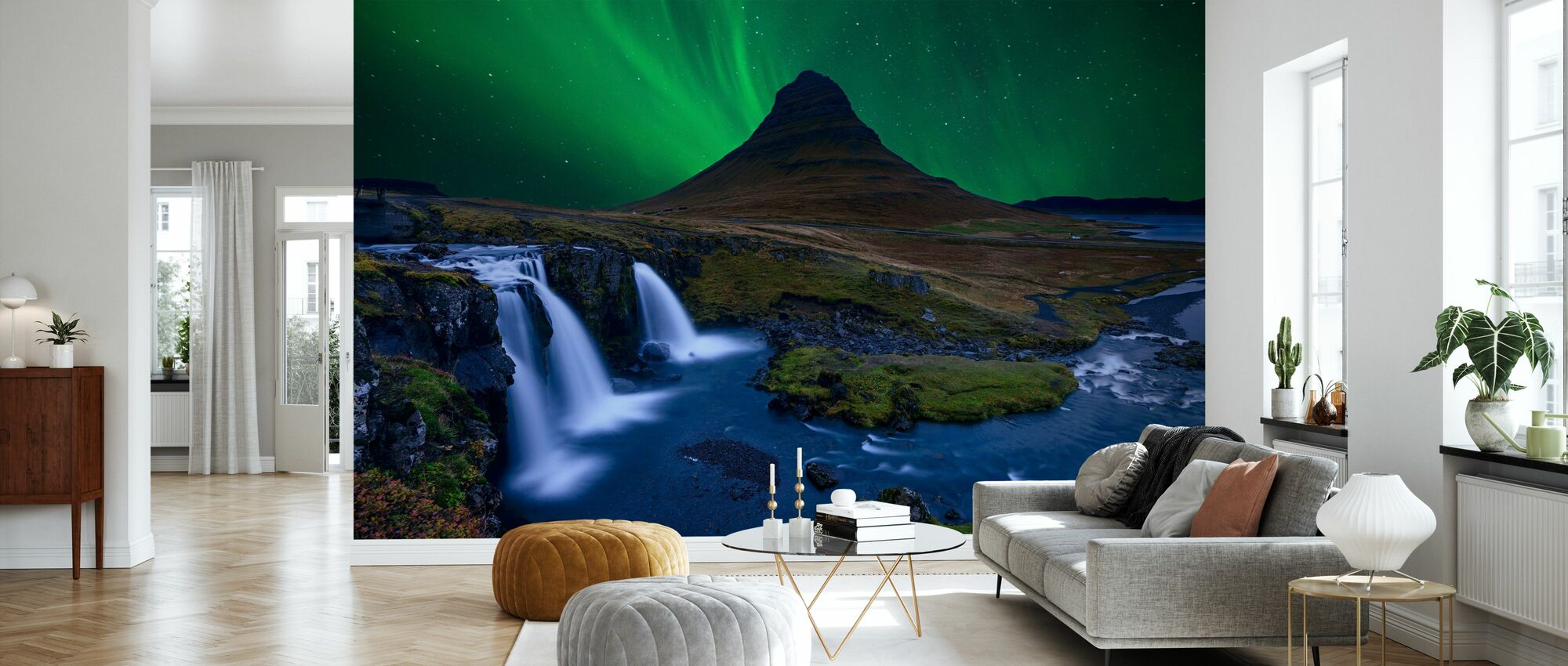 Kirkju Fell Under a Boreal Green Sky - Wallpaper - Living Room