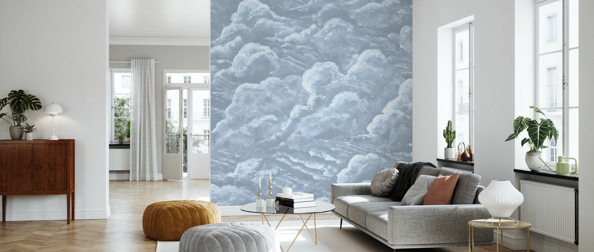 In de wolken - Blauw - Behang - Woonkamer