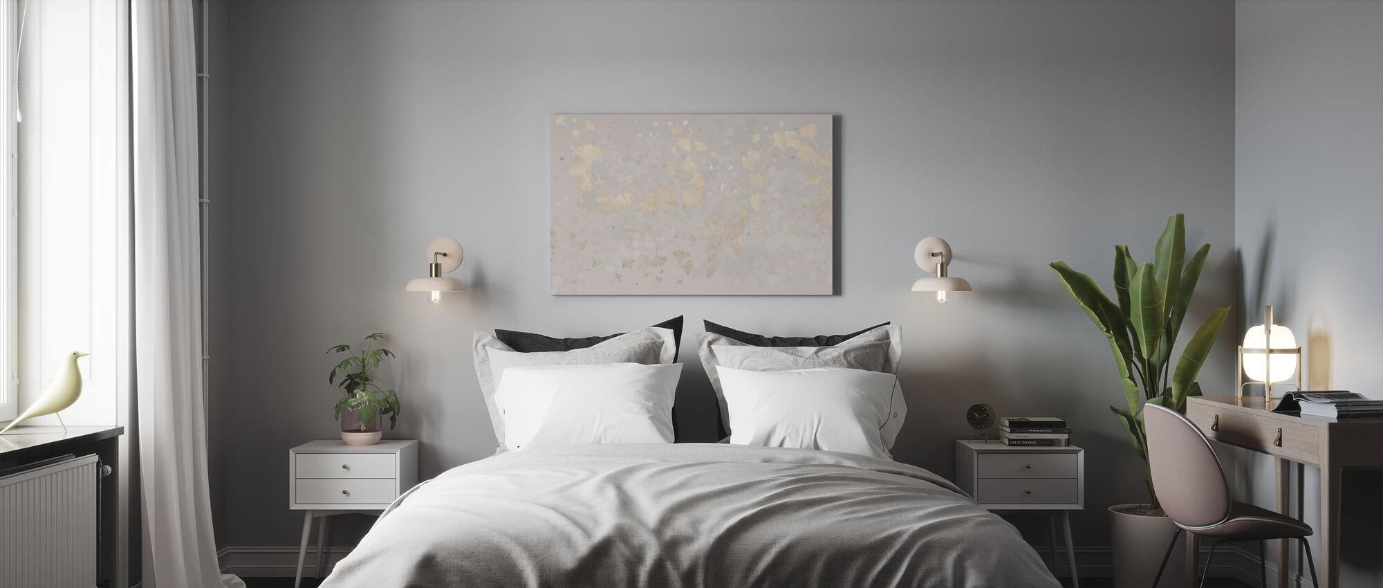 Ginkgo Leaves Blowin in the Wind - Beige - Canvas print - Bedroom