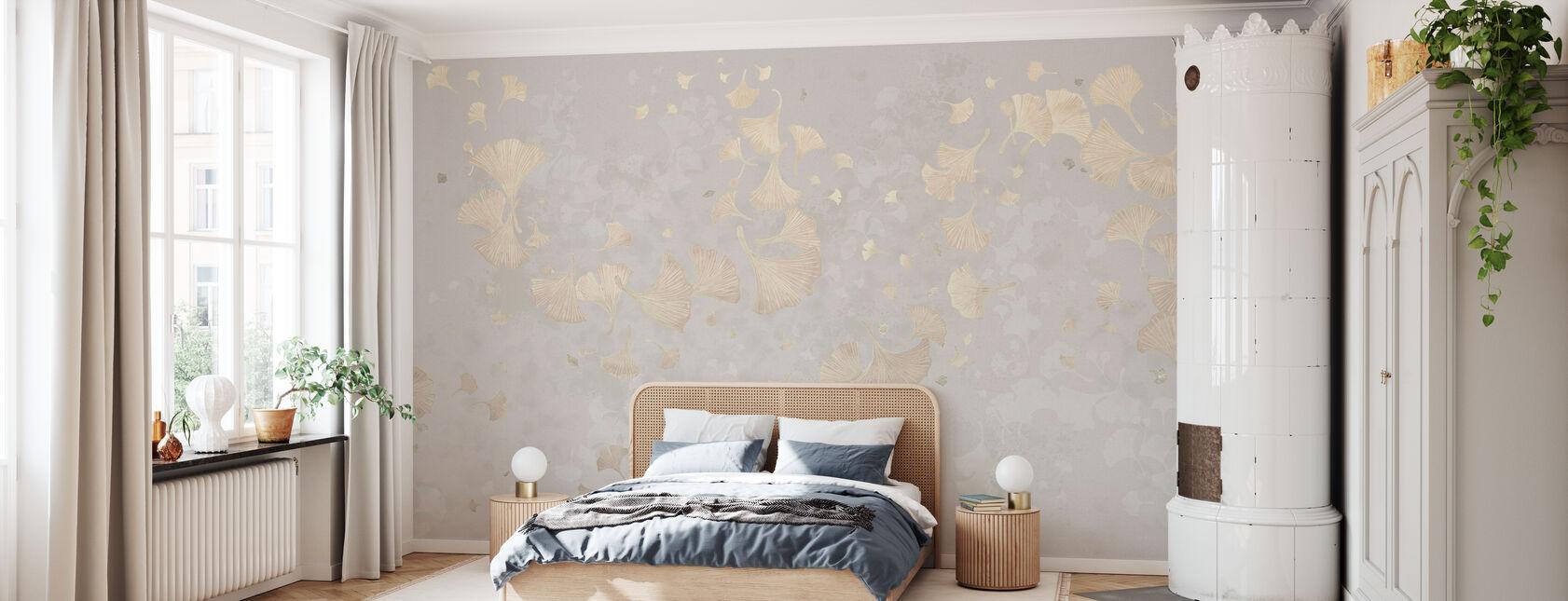 Ginkgo Blätter Blowin im Wind - Beige - Tapete - Schlafzimmer