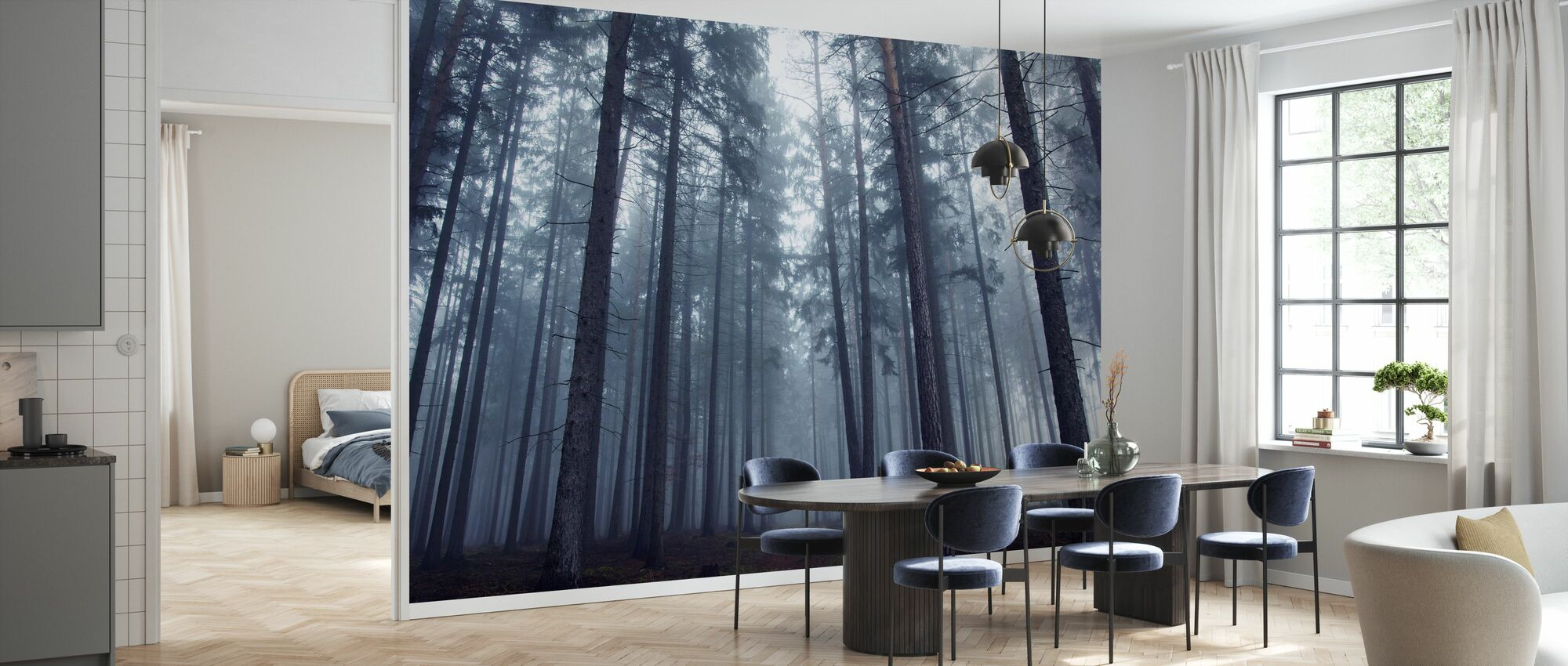 Mysterious Foggy Forest - Wallpaper - Kitchen