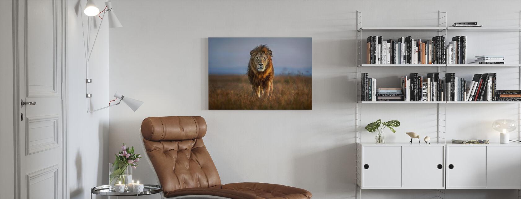 Lion zbliżyć - Obraz na płótnie - Pokój dzienny