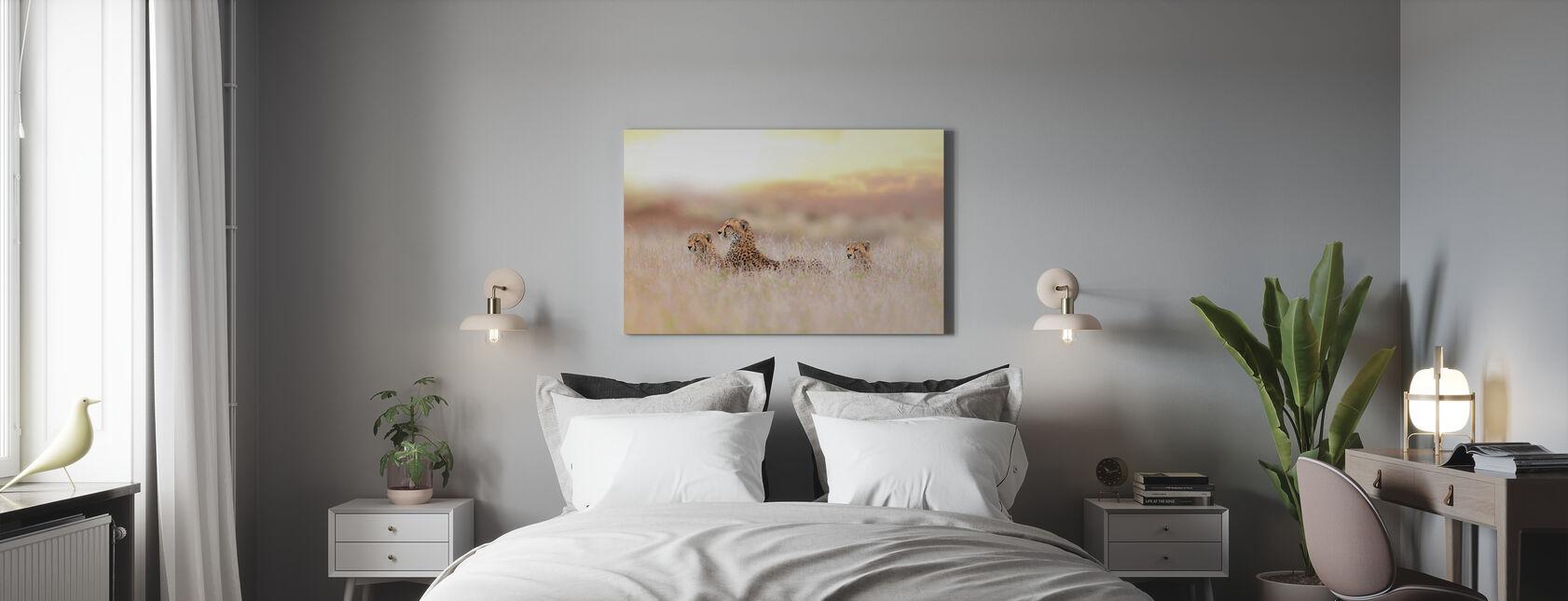 Cheetah Familie - Canvas print - Slaapkamer