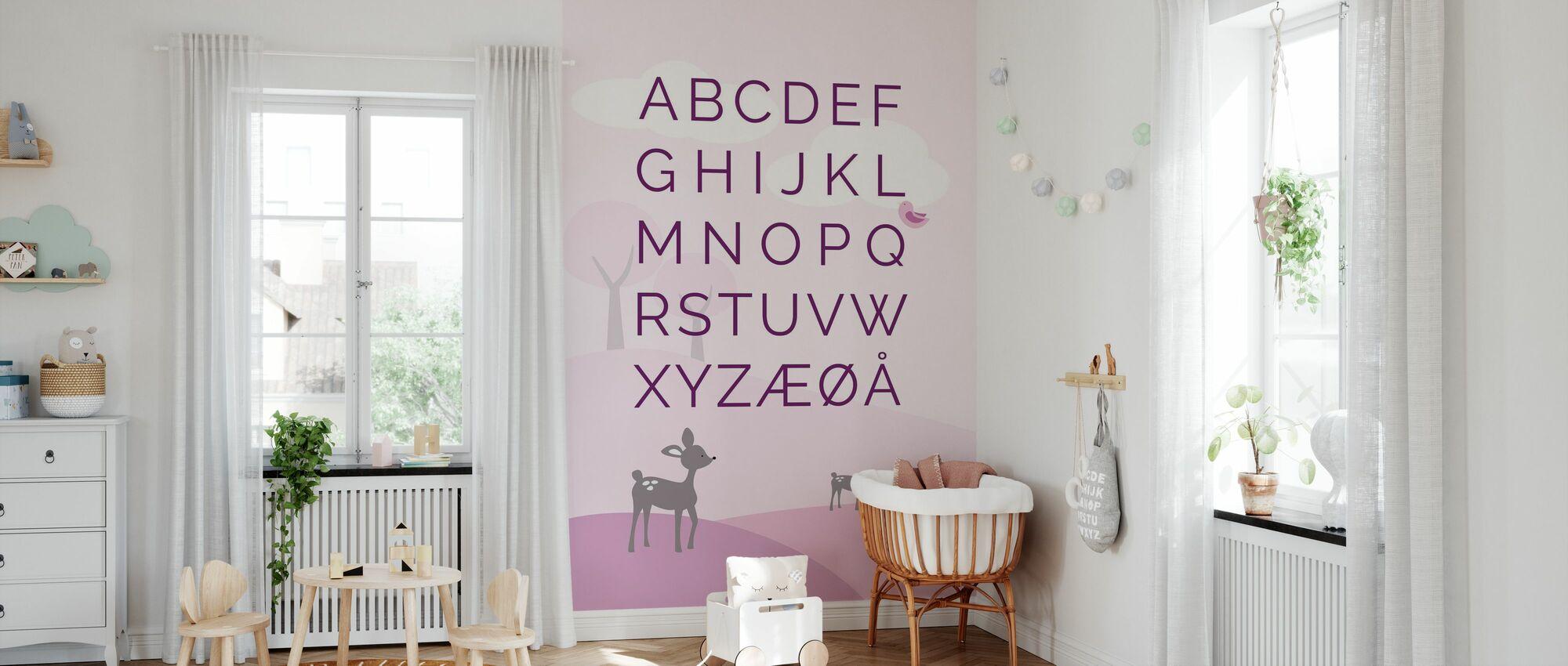 ABC Hjort Verden - NO - Pink - Tapet - Babyrom