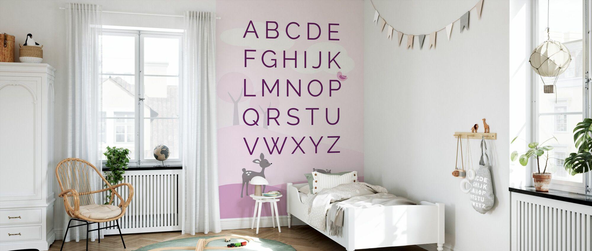 ABC Hjort verden - rosa - Tapet - Barnerom