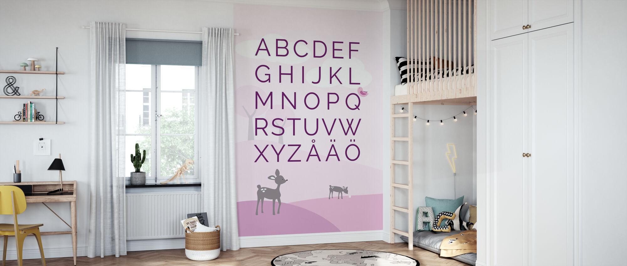 ABC Hjort Verden - SE - Rosa - Tapet - Barnerom