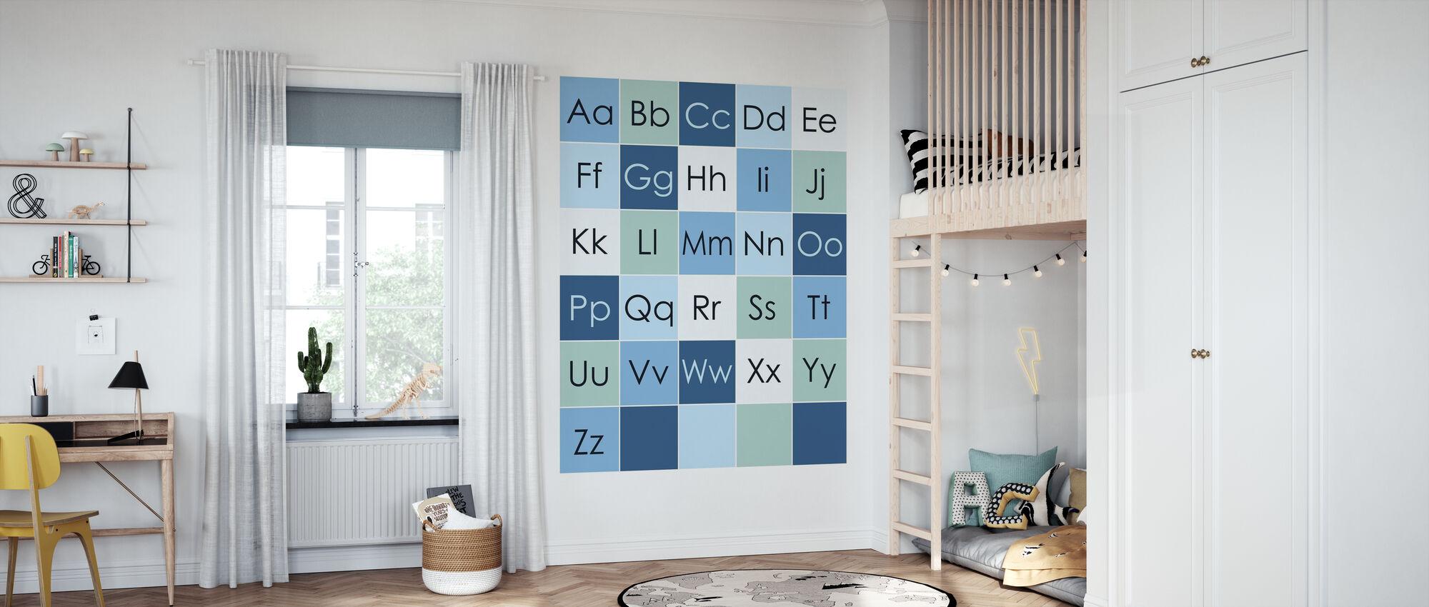 ABC Enkel - Blå - Tapet - Barnerom