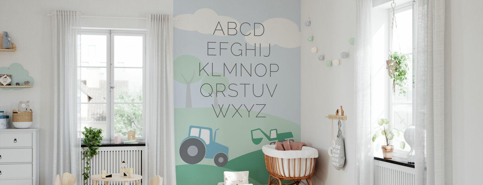 ABC Traktor - Grün - Tapete - Babyzimmer