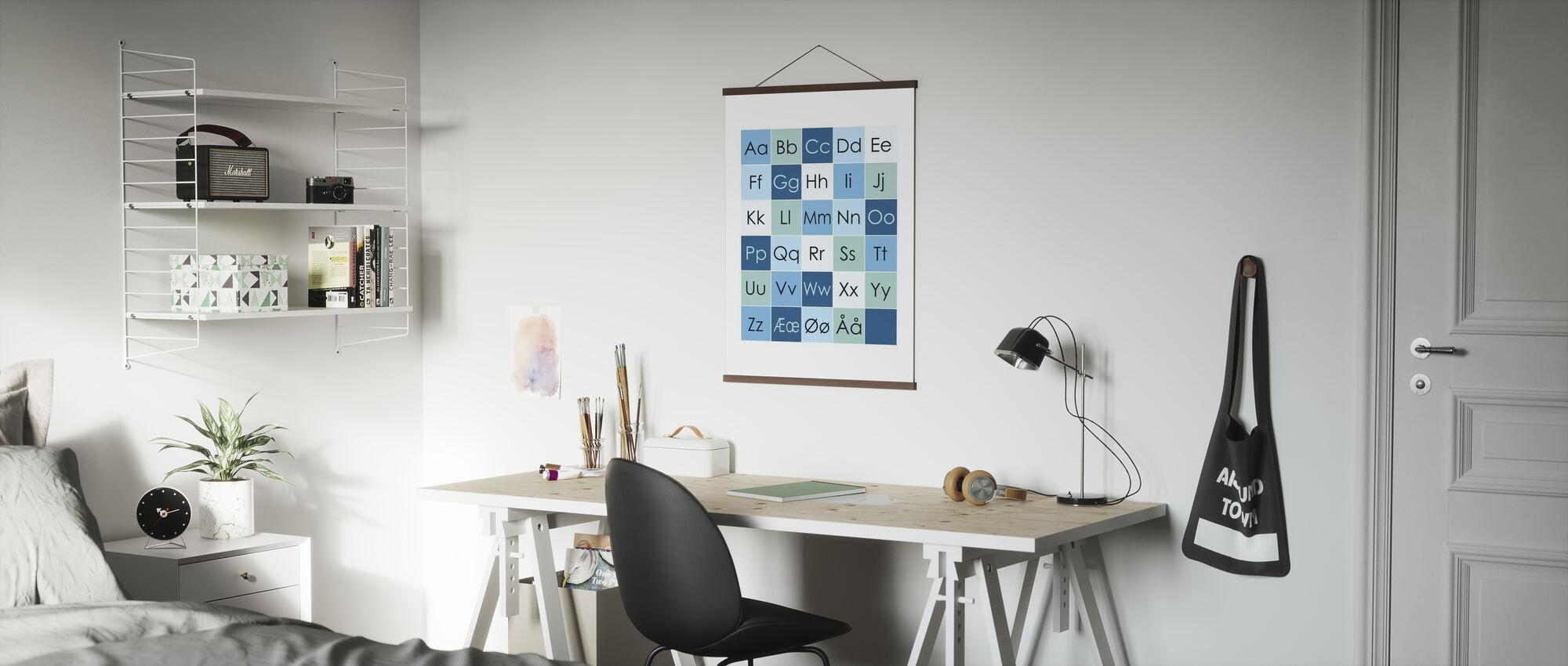 ABC-Simple - NEI - Blå - Plakat - Kontor