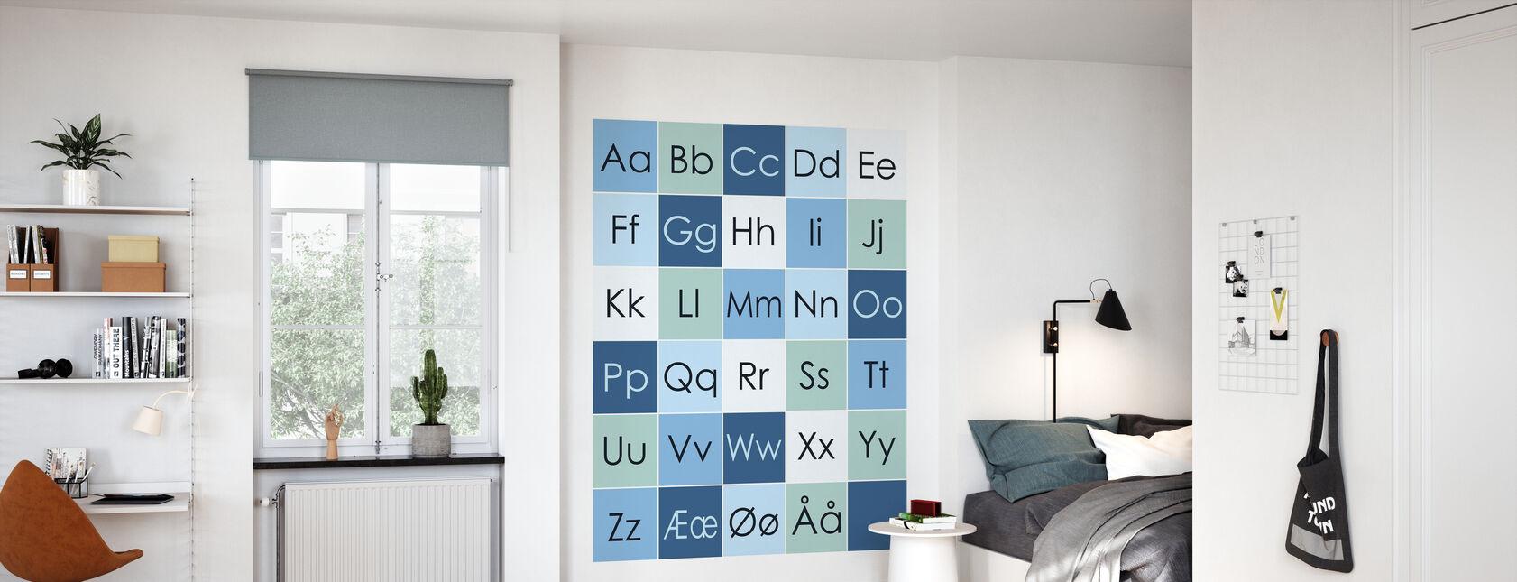 ABC-Simple - NEI - Blå - Tapet - Barnerom