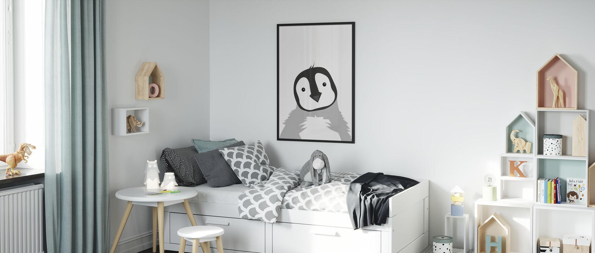 Lubben pingvin - grå - Innrammet bilde - Barnerom