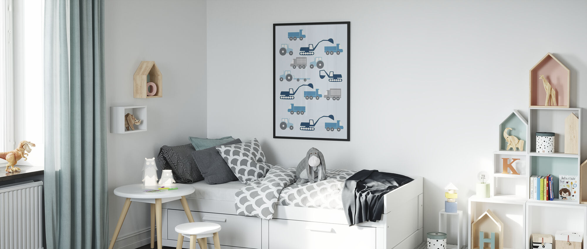 Heavy Vehicles - Blue - Poster - Kids Room