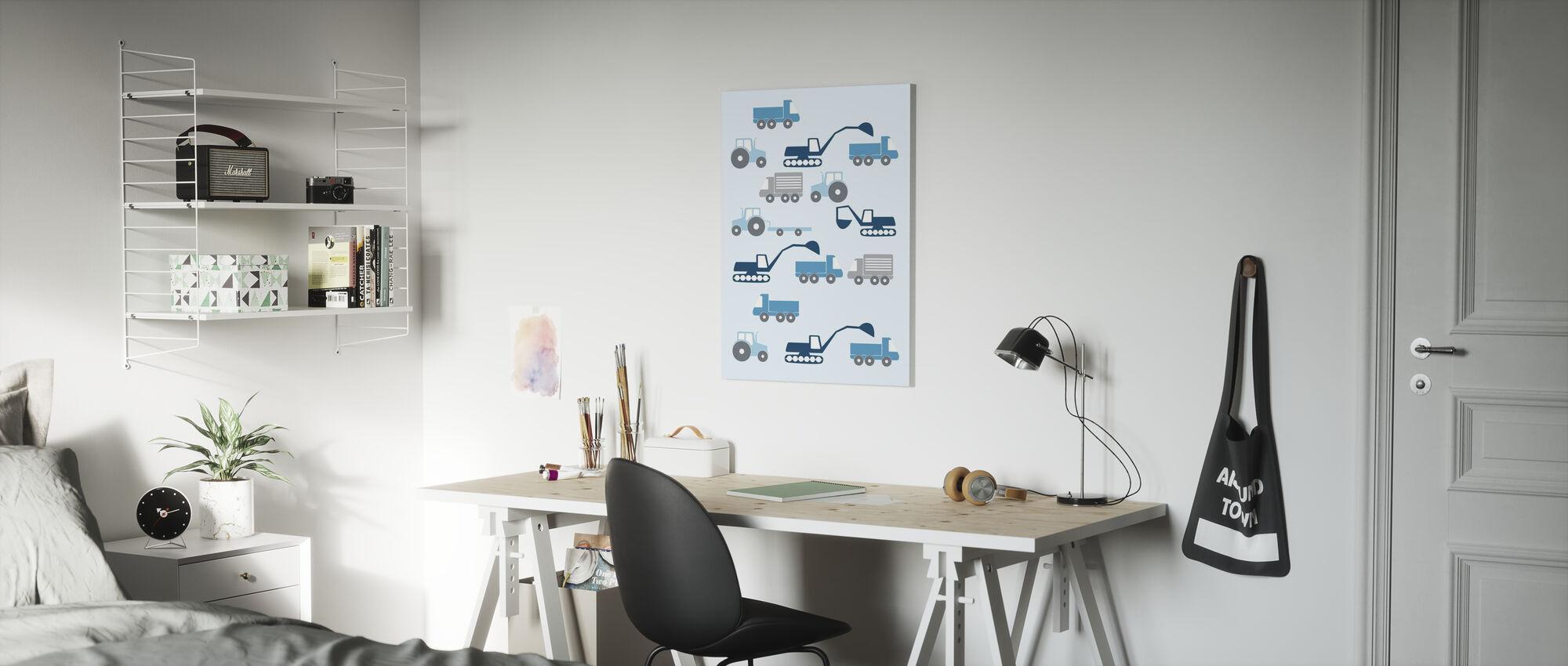 Heavy Vehicles - Blue - Canvas print - Kids Room