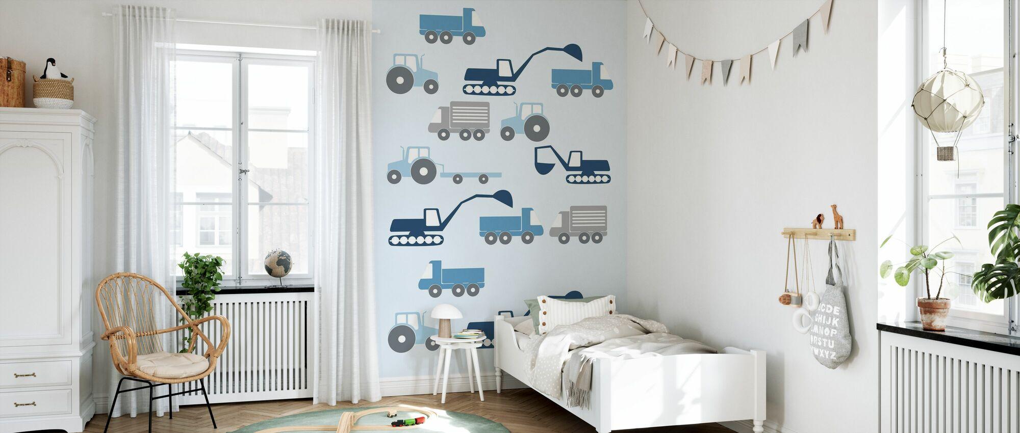 Véhicules lourds - Bleu - Papier peint - Chambre des enfants