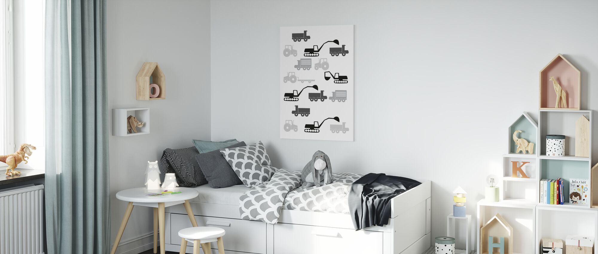 Heavy Vehicles - Bw - Canvas print - Kids Room