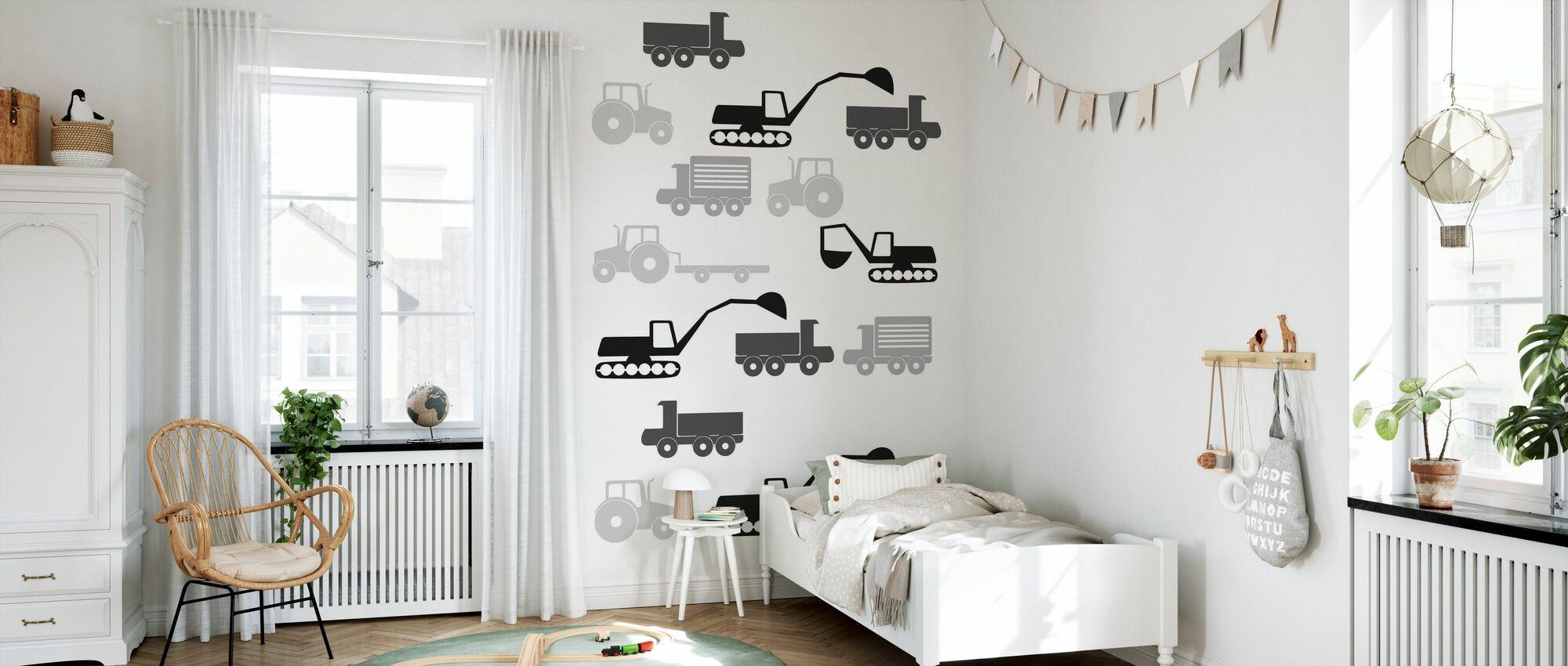 Heavy Vehicles - Bw - Wallpaper - Kids Room
