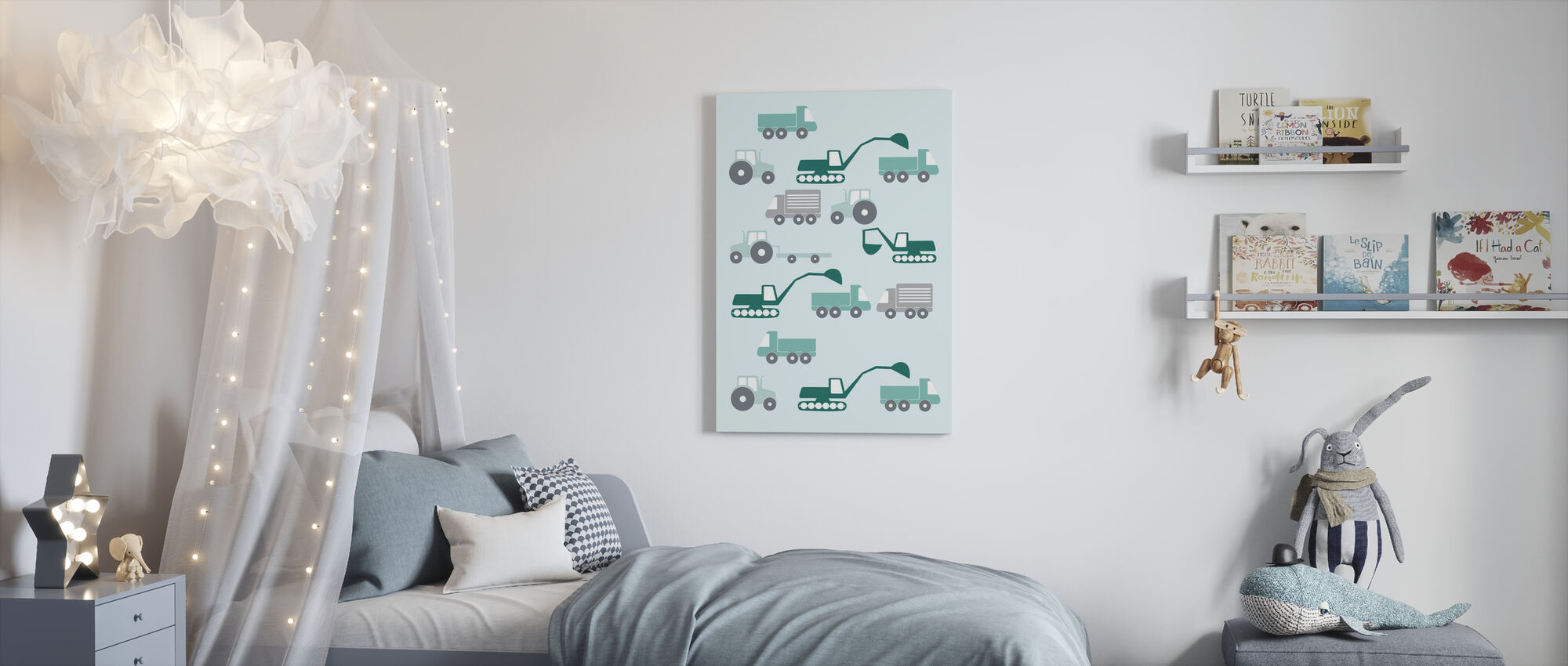 Heavy Vehicles - Green - Canvas print - Kids Room
